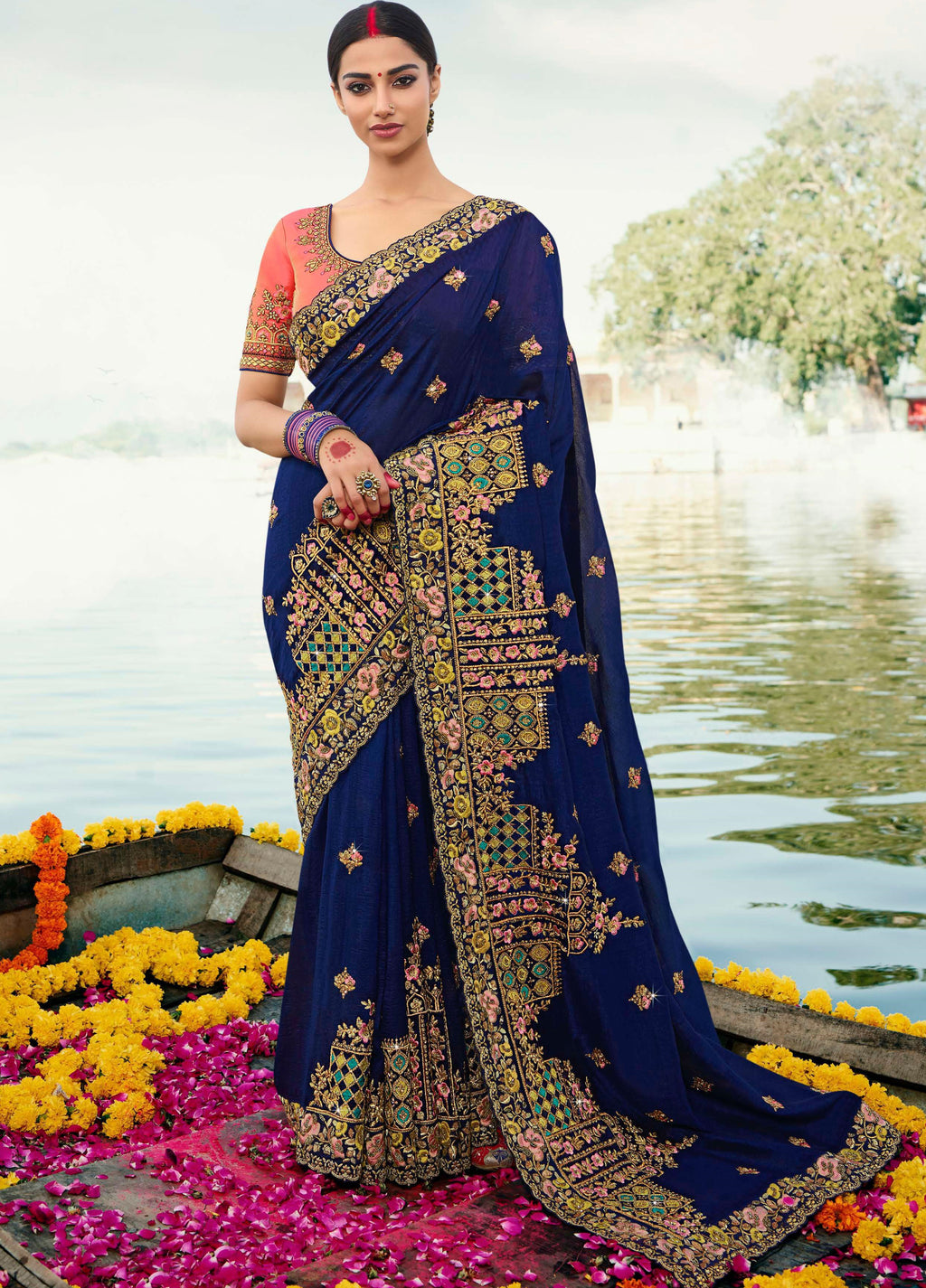 Blue Color Dola Silk Embroidered Designer Sarees NYF-5756