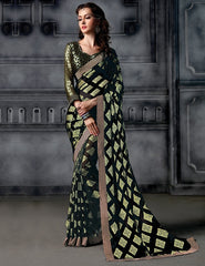 Black Color Brasso Party Wear Sarees : Arishit Collection  YF-51746