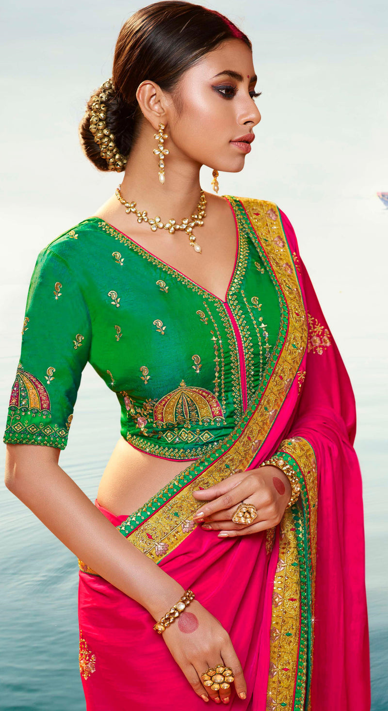 Pink Color Dola Silk Embroidered Designer Sarees NYF-5757