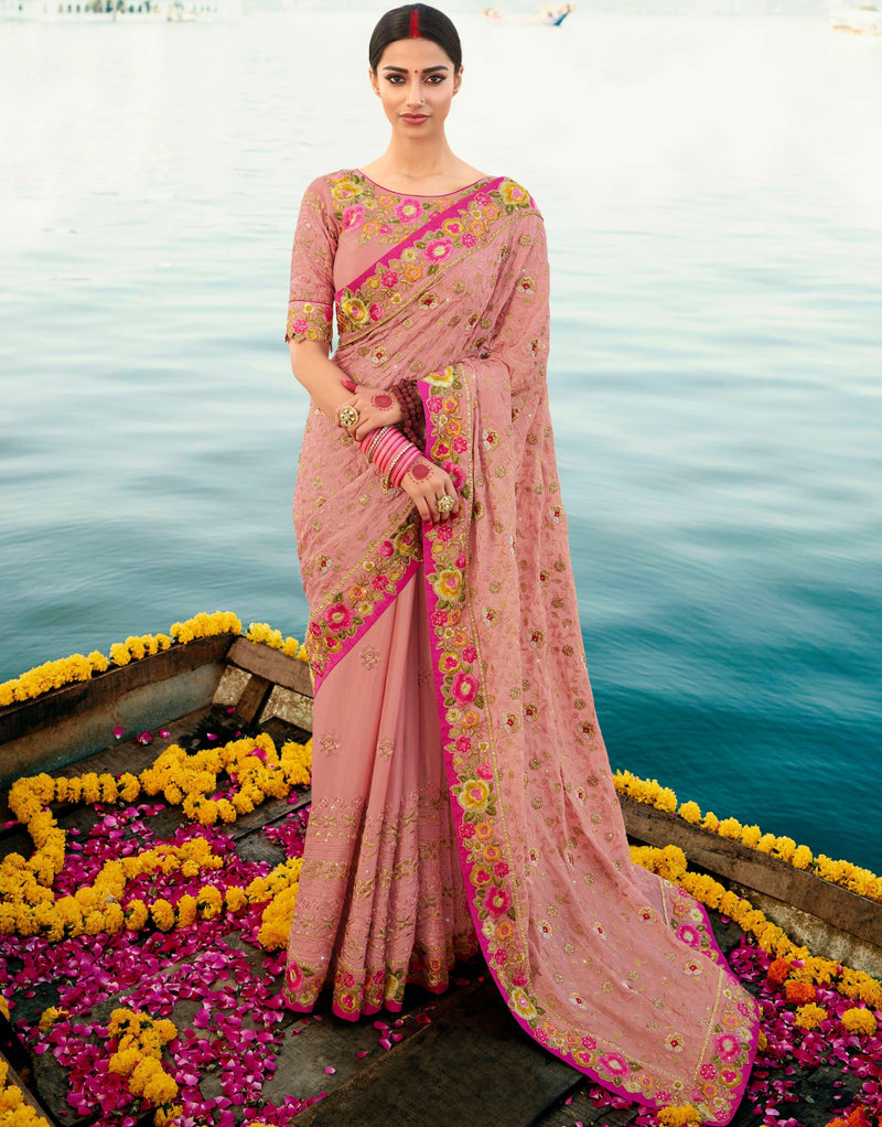 Baby Pink Color Dola Silk Embroidered Designer Sarees NYF-5758
