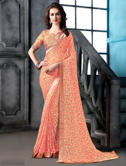 Peach Color Brasso Party Wear Sarees : Arishit Collection  YF-51747