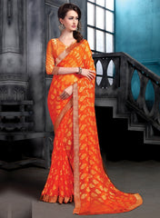 Orange Color Brasso Party Wear Sarees : Arishit Collection  YF-51748