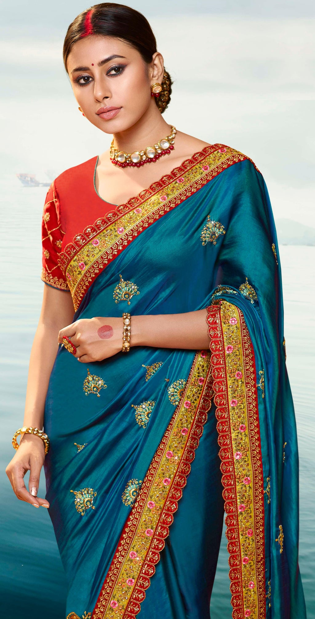 Firozi Color Dola Silk Embroidered Designer Sarees NYF-5760