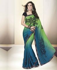 Green & Blue Color Crepe Designer Party Wear Sarees : Tripuri Collection  YF-40965