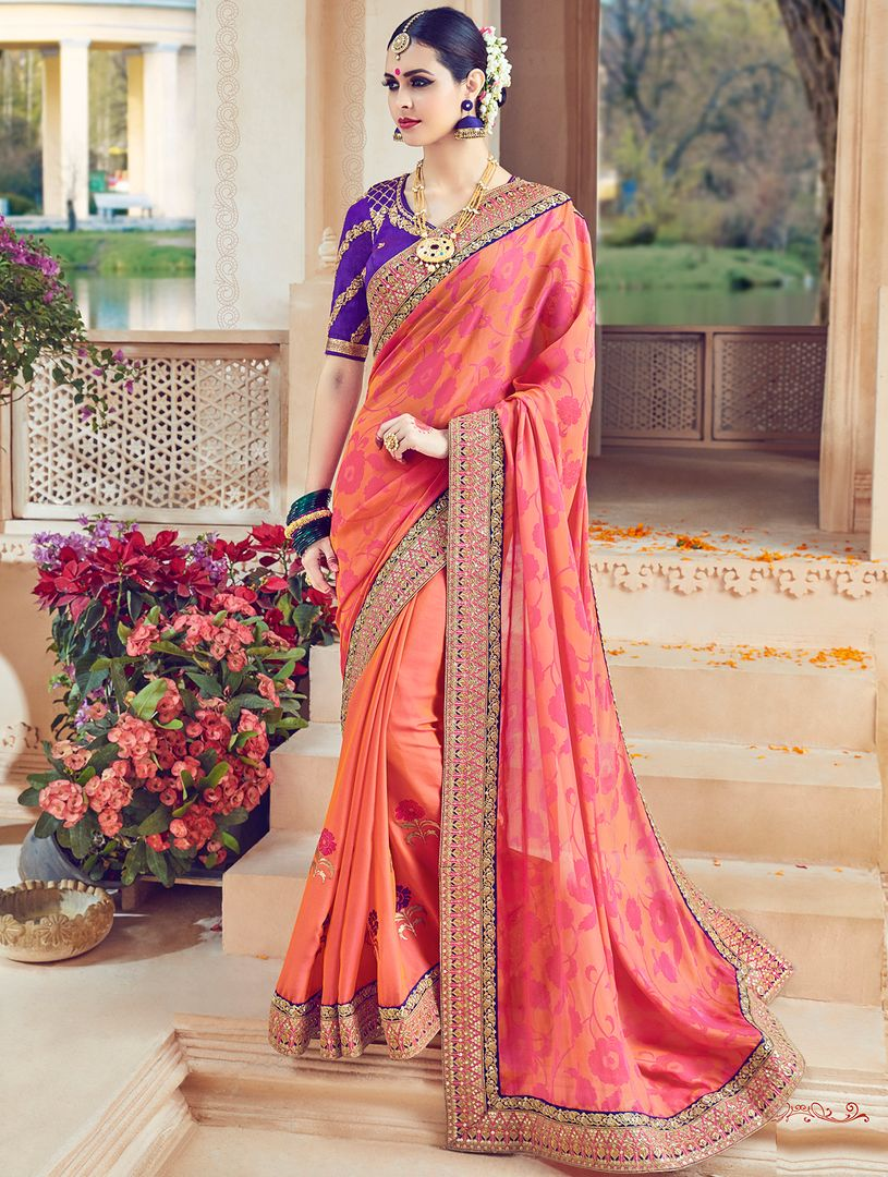 Peach Color Raw Silk Designer Wedding Wear Sarees : Jagvi Collection  NYF-2857 - YellowFashion.in