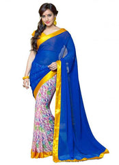Blue and Yellow Color Georgette Party Wear Sarees : 2-in-1 Collection  YF-23169