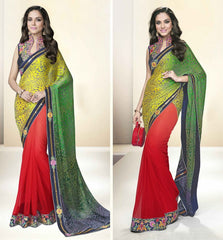 Green & Red Color Half Net & Half Georgette Designer Party Wear Sarees : Tripuri Collection  YF-40969