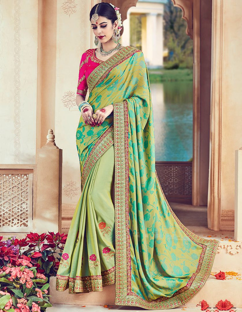 Pastel Green Color Raw Silk Designer Wedding Wear Sarees : Jagvi Collection  NYF-2858 - YellowFashion.in
