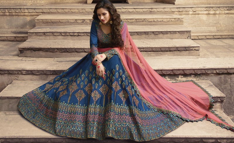 Blue Color Art Silk Designer Lehenga For Wedding Functions NYF-6530