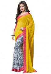 Yellow and Pink Color Georgette Party Wear Sarees : 2-in-1 Collection  YF-23170