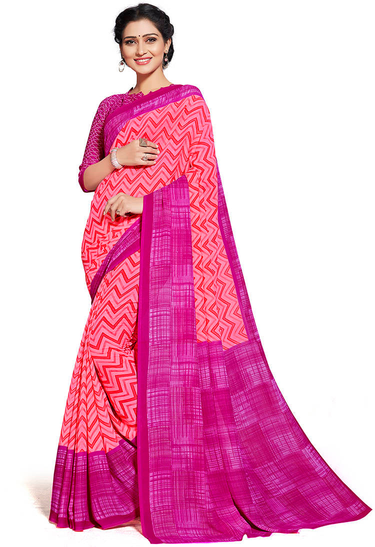 Peach & Pink Color Chiffon Printed Home Wear Sarees NYF-7662