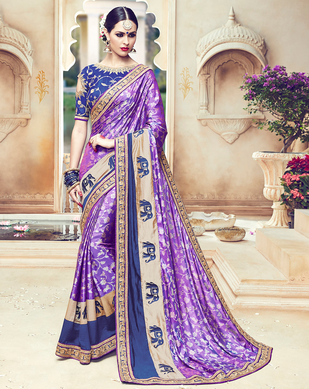 Purple Color Raw Silk Designer Wedding Wear Sarees : Jagvi Collection  NYF-2859 - YellowFashion.in