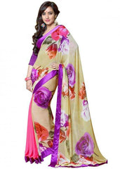 Light Yellow and Purple Color Georgette Party Wear Sarees : 2-in-1 Collection  YF-23171