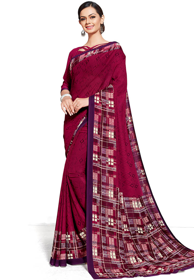 Magenta Color Chiffon Printed Home Wear Sarees NYF-7668