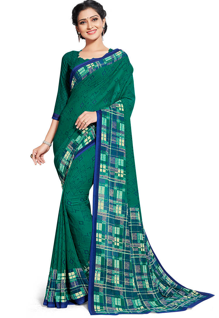 Green Color Chiffon Printed Home Wear Sarees NYF-7669