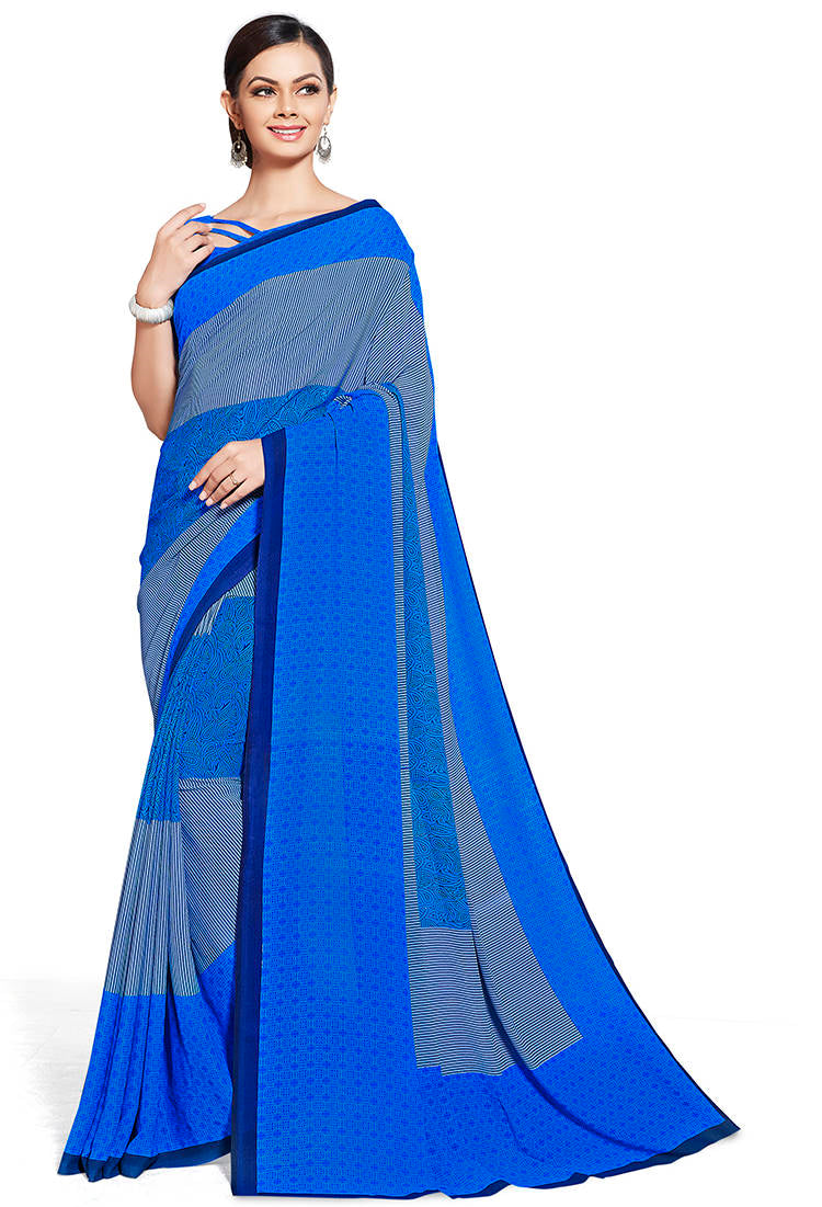 Blue Color Chiffon Printed Home Wear Sarees NYF-7670