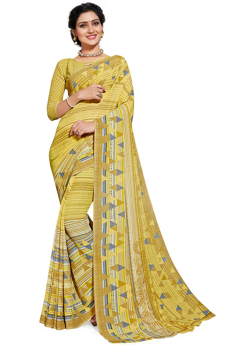 Light Yellow Color Chiffon Printed Home Wear Sarees NYF-7672