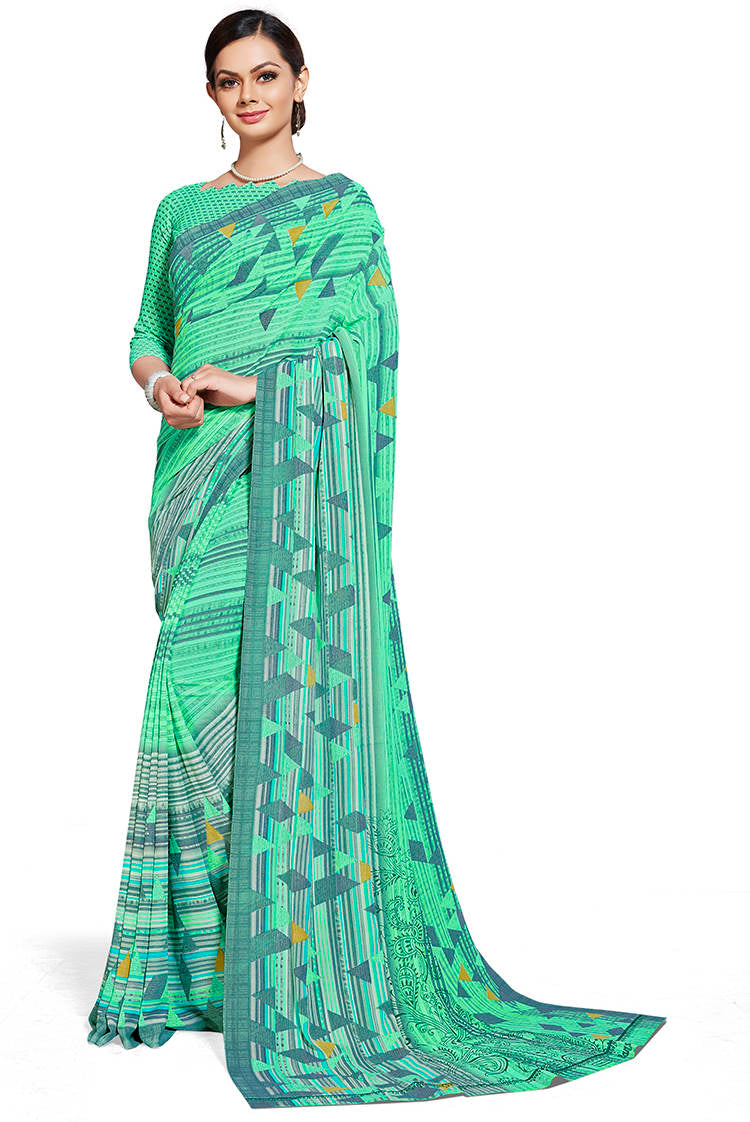 Aqua Green Color Chiffon Printed Home Wear Sarees NYF-7673