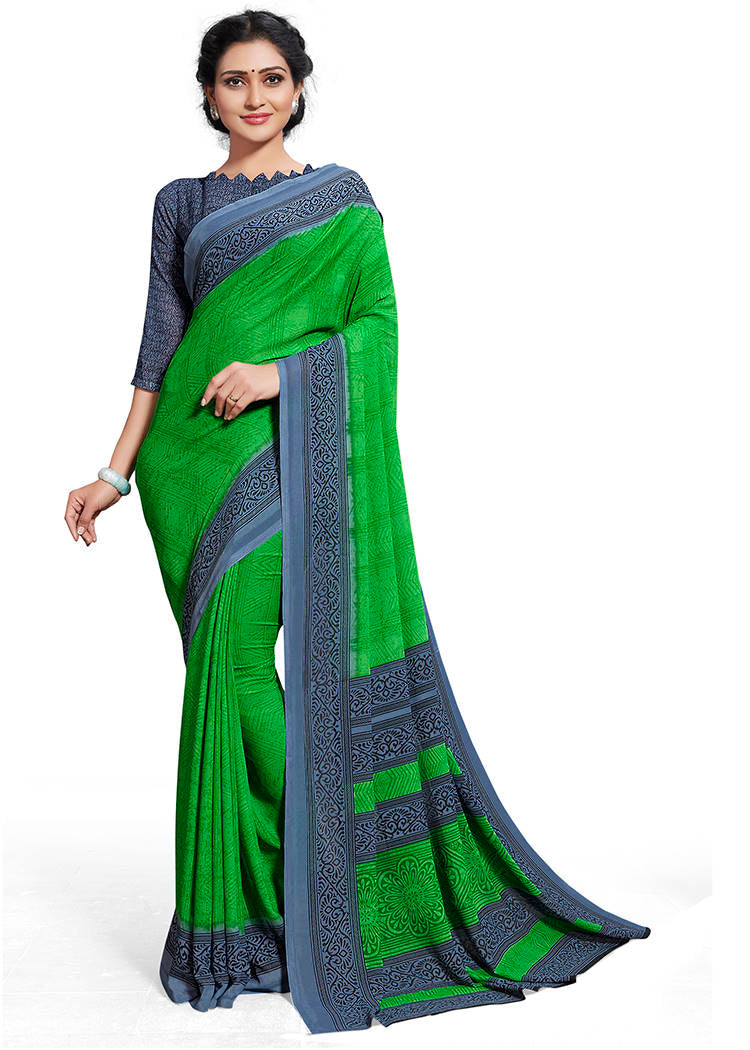 Green Color Chiffon Printed Home Wear Sarees NYF-7675