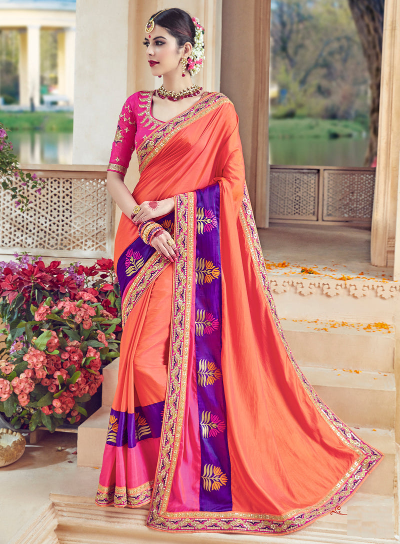 Peach Color Raw Silk Designer Wedding Wear Sarees : Jagvi Collection  NYF-2860 - YellowFashion.in