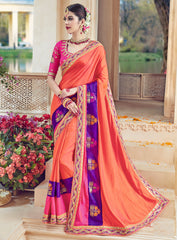 Peach Color Raw Silk Designer Wedding Wear Sarees : Jagvi Collection  NYF-2860