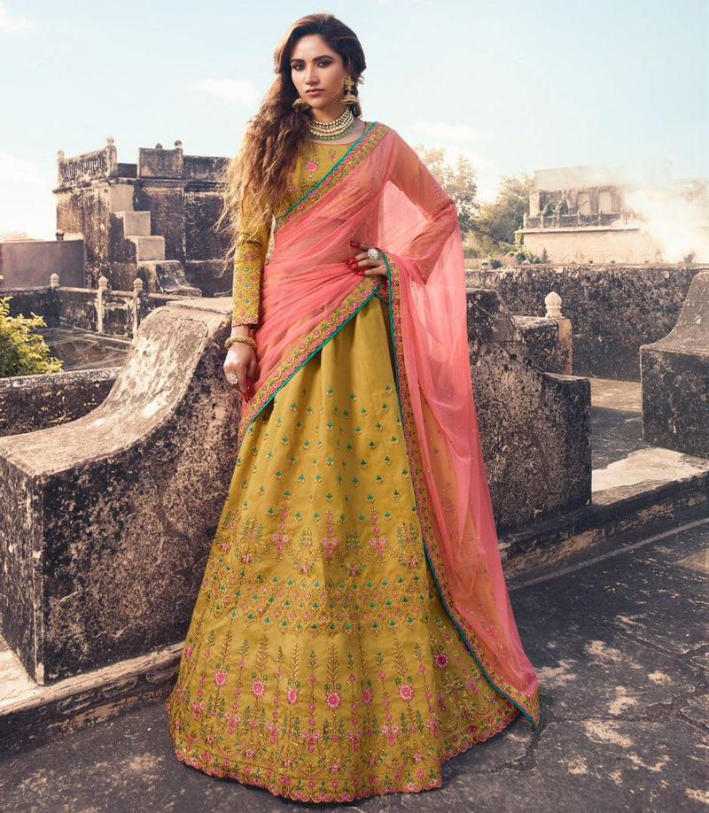 Mustard Yellow  Barfi Silk Designer Lehenga For Wedding Functions : Kreshti Collection  NYF-3317 - YellowFashion.in