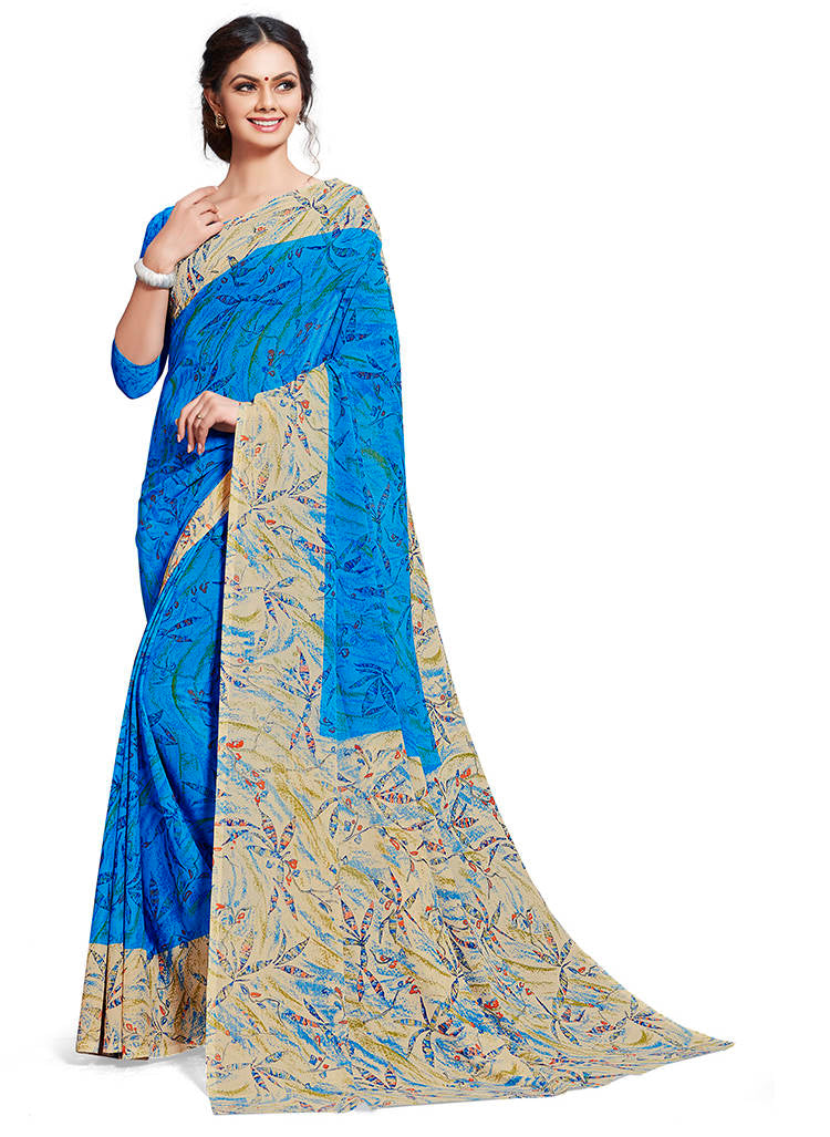 Blue Color Chiffon Printed Home Wear Sarees NYF-7677