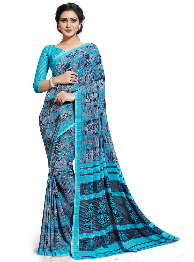 Blue & Grey Color Chiffon Printed Home Wear Sarees NYF-7679