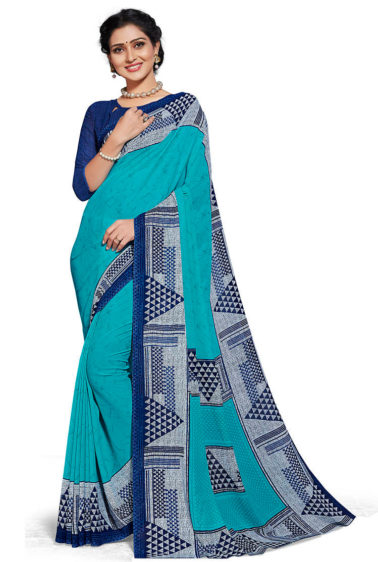 Aqua Blue Color Chiffon Printed Home Wear Sarees NYF-7681
