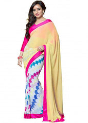 Cream,Off White and Pink Color Georgette Party Wear Sarees : 2-in-1 Collection  YF-23173