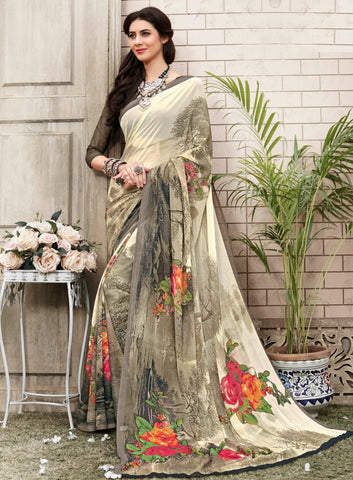 Multi Color Georgette Kitty Party Sarees : Nirvani Collection YF-61361