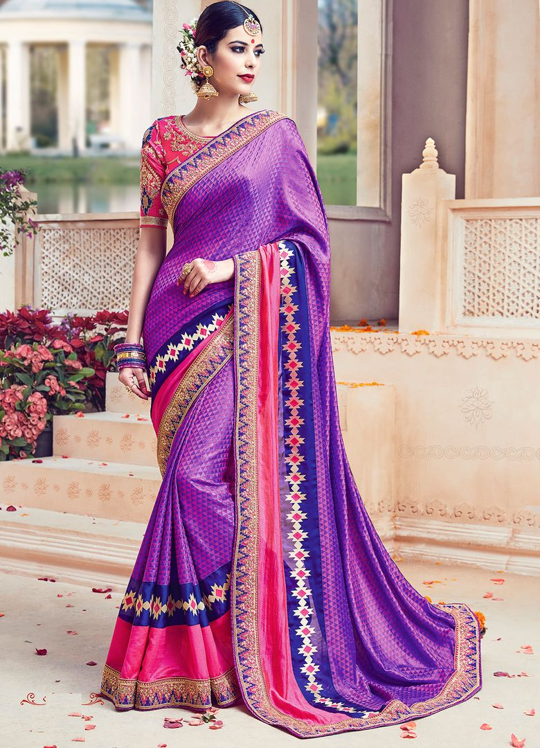 Purple Color Raw Silk Designer Wedding Wear Sarees : Jagvi Collection  NYF-2861 - YellowFashion.in
