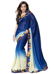 Shades of Blue and Off White Color Jacquard Crepe Party Wear Sarees : 2-in-1 Collection  YF-23174