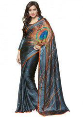 Grey and Orange Color Jacquard Crepe Party Wear Sarees : 2-in-1 Collection  YF-23175