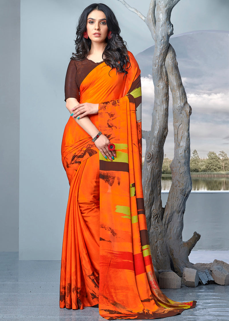 Orange Color Crepe Printed Kitty Party Sarees NYF-9472
