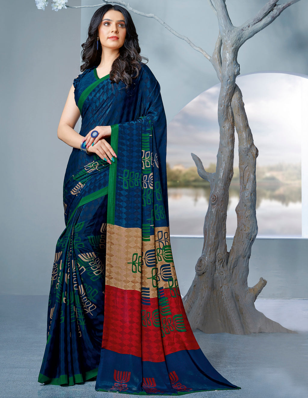 Blue Color Crepe Printed Kitty Party Sarees NYF-9477