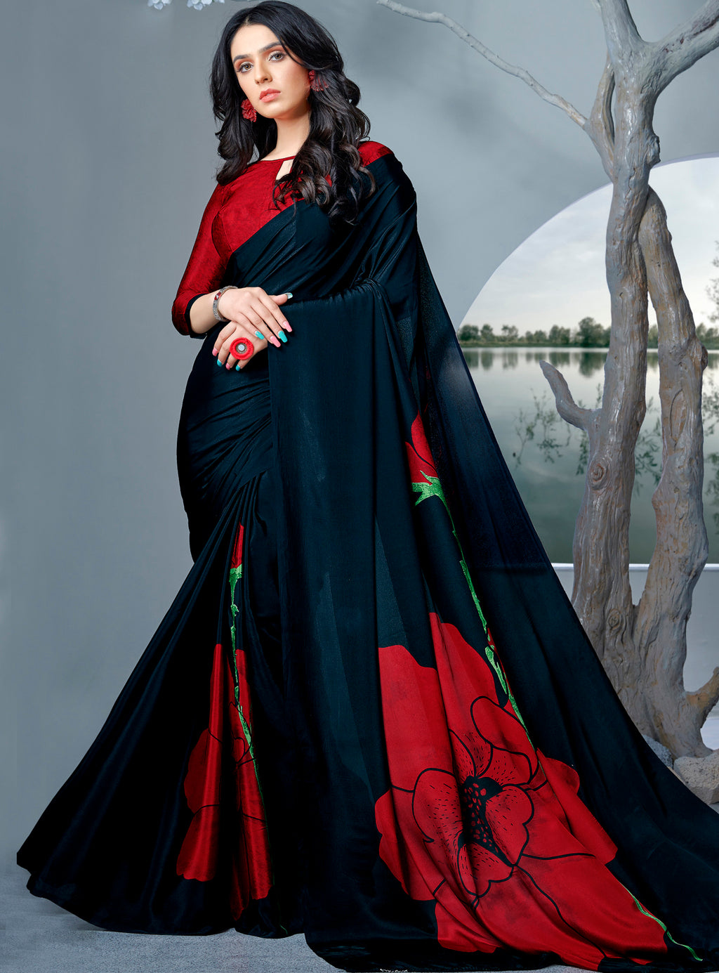 Black & Red Color Crepe Printed Kitty Party Sarees NYF-9480