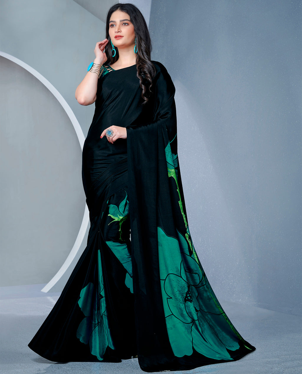 Black Color Crepe Printed Kitty Party Sarees NYF-9479