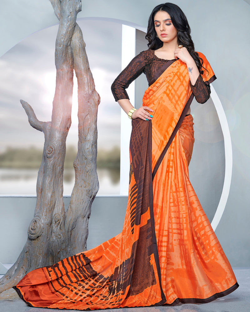 Orange Color Crepe Printed Kitty Party Sarees NYF-9482