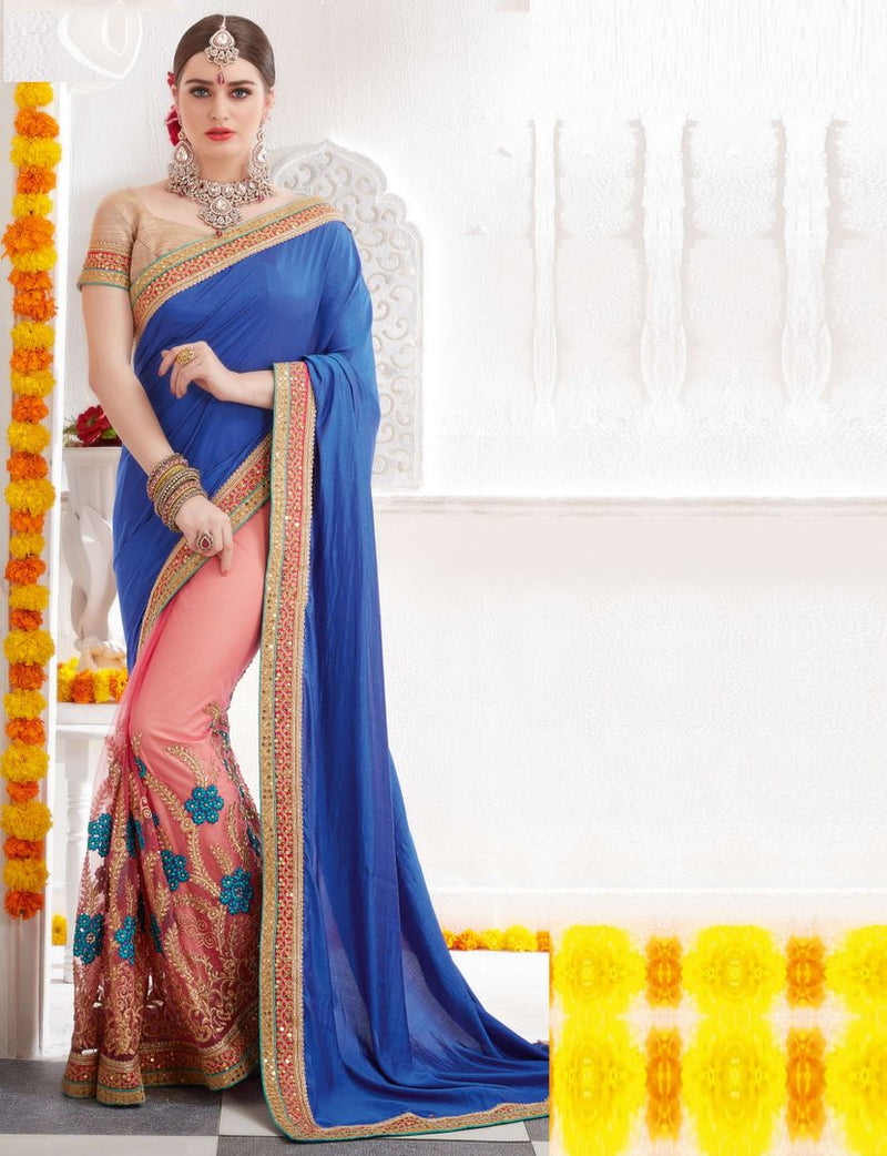 Blue & Baby Pink Color Half Net & Half Chiffon Party Wear Sarees : Pinati Collection  NYF-3373 - YellowFashion.in