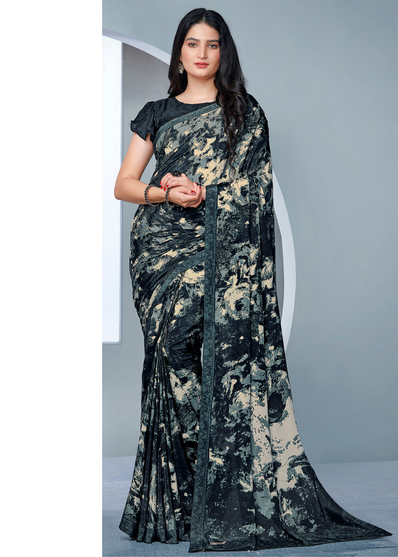 Grey Color Crepe Printed Kitty Party Sarees NYF-9487