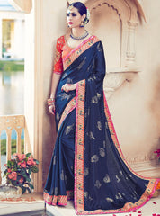 Blue Color Raw Silk Designer Wedding Wear Sarees : Jagvi Collection  NYF-2862