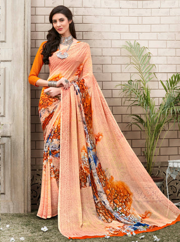 Light Orange Color Georgette Kitty Party Sarees : Nirvani Collection YF-61364