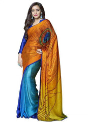 Shades of Yellow and Blue Color Jacquard Crepe Party Wear Sarees : 2-in-1 Collection  YF-23176