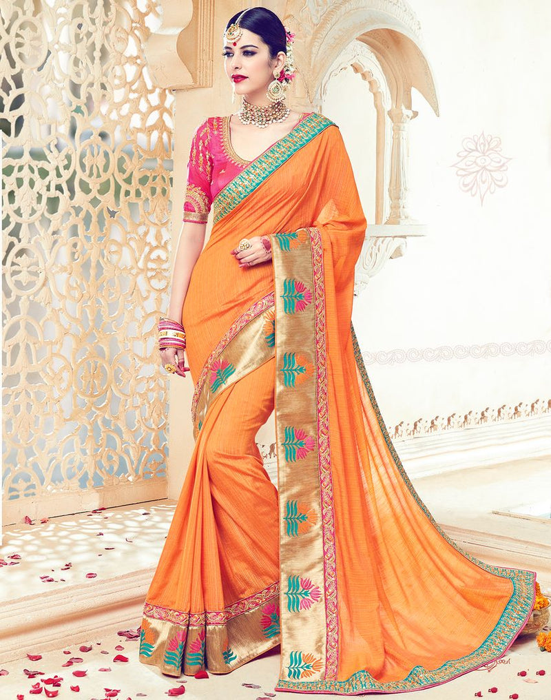 Orange Color Raw Silk Designer Wedding Wear Sarees : Jagvi Collection  NYF-2863 - YellowFashion.in