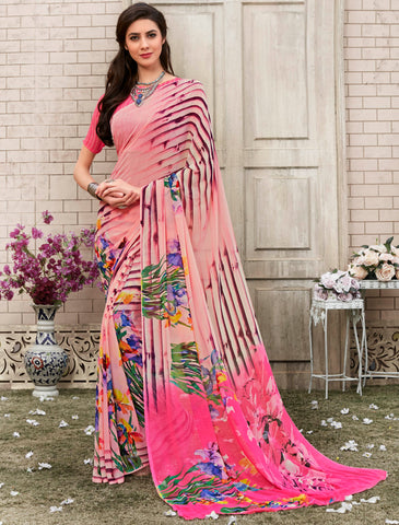 Light Pink Color Georgette Kitty Party Sarees : Nirvani Collection YF-61367