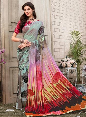Light Aqua Blue & Pink Color Georgette Kitty Party Sarees : Nirvani Collection YF-61372