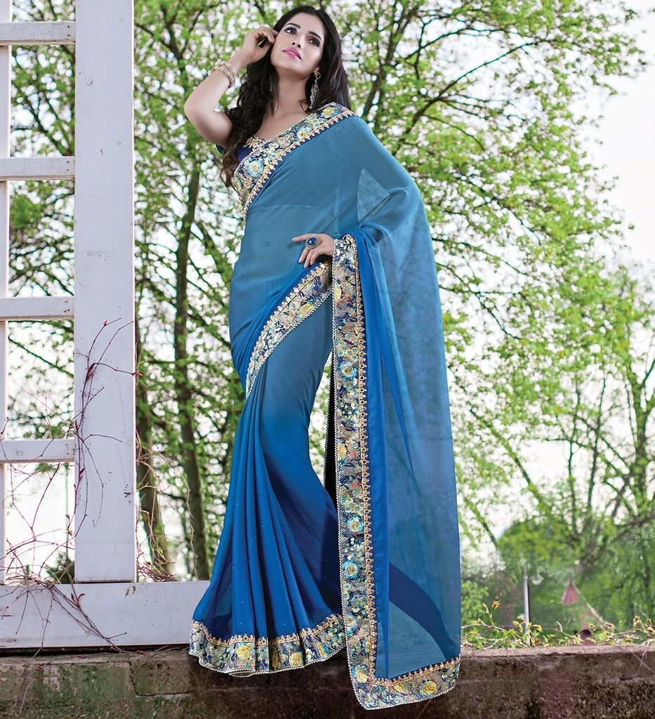 Blue Color Chiffon Designer Festive Sarees : Jugni Collection  NYF-1551 - YellowFashion.in
