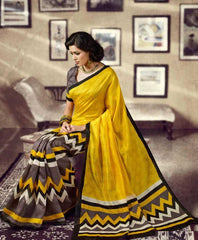 Yellow and Grey  Colour  Silkosa  Sarees : Crown Collection -  YF-14410