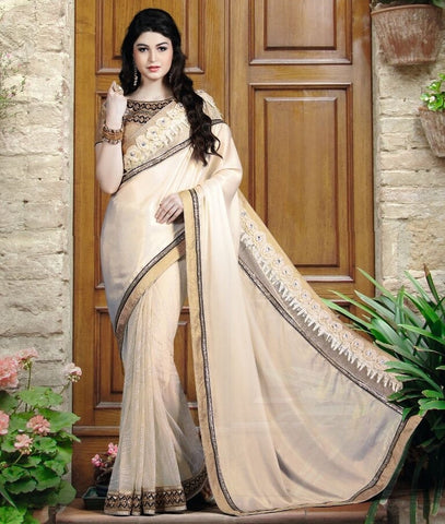 Cream Color Half Chiffon & Half Net Designer Festive Sarees : Nehashi Collection  YF-53169